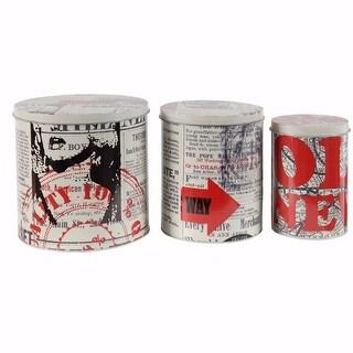 Round Decorative Tin Boxes - Set Of 3, Multicolor