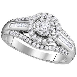 1/2Ctw Diamond Fashion Bridal Engagement Ring 10K White-Gold
