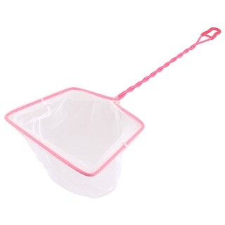 Fishing Fishbowl Nylon Mesh Durable Spiral Handle Goldfish Shrimp Catch Net Pink