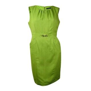 Ellen Tracy Women's Faux-Belt Woven Pleated Sheath Dress (16, Lime) - Lime - 16