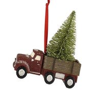 """Pack of 6 Brown Vintage Truck Hauling a Frosted Tree Christmas Hanging Ornaments 4.5"""""""