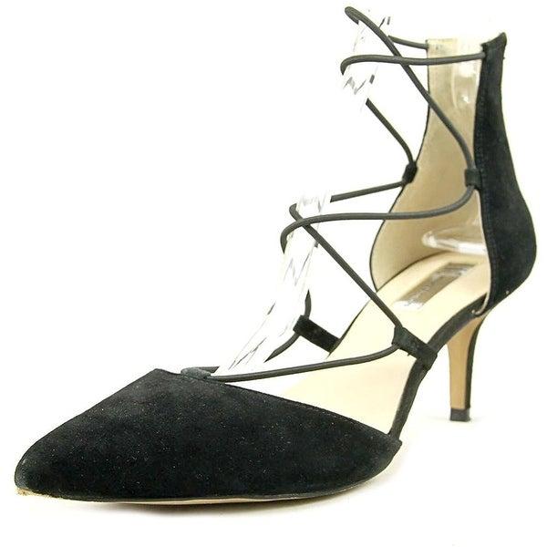 INC International Concepts Daree Women Open Toe Suede Black Sandals