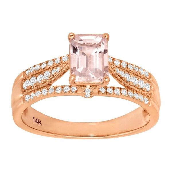 1 1/10 ct Natural Morganite & 1/5 ct Diamond Ring in 14K Rose Gold