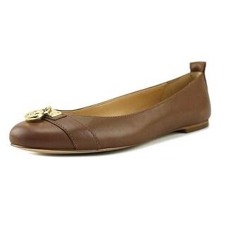 MICHAEL Michael Kors Womens HAMILTON Leather Round Toe Slide Flats