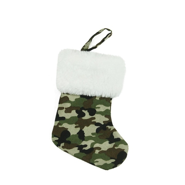 """7"""" Army Camouflage Mini Christmas Stocking with White Faux Fur Cuff - brown"""