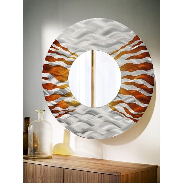Statements2000 Silver/Brown Metal Wall Art Mirror Accent Decor by Jon Allen - Mirror 107 - Copper