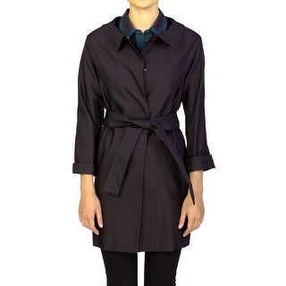 Prada Women's Wool Silk Blend Coat Black - 42