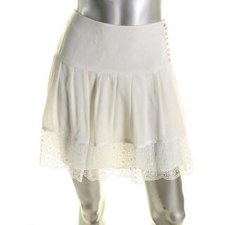 Diane Von Furstenberg Womens Belita Pleated Skirt Silk Lace Trim