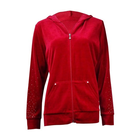 Style & Co. Women's Studded Velour Zip Hooded Jacket
