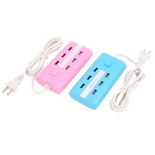 AC110-250V US Plug 6 USB Charging Adapter Multi-use Power Strip Set Blue+Pink