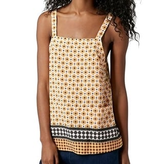 TopShop NEW Yellow Blue Women's Size 2 Tile Two-Pocket Cami Blouse