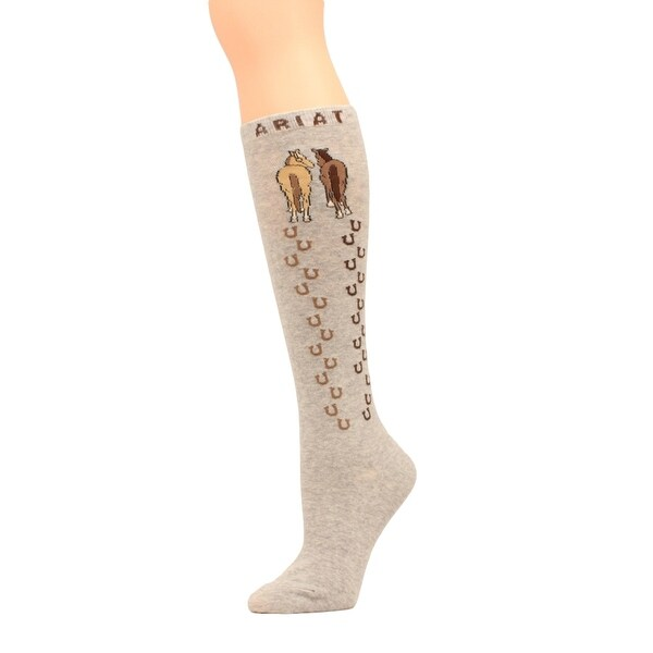 Ariat Socks Womens Comfort Knee High Horse Tracks OSFA Gray - One size