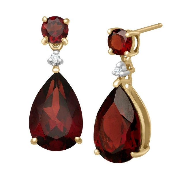 6 7/8 ct Natural Garnet Drop Earrings with Diamonds in 10K Gold - Red