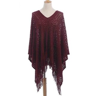 Shine Mark Accessories QH-272-3-03 Knitting Poncho - Red