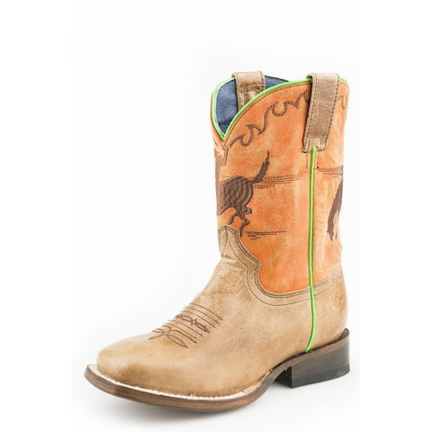 "Roper Western Boots Boys Cowboy Horsey 8"" Brown"