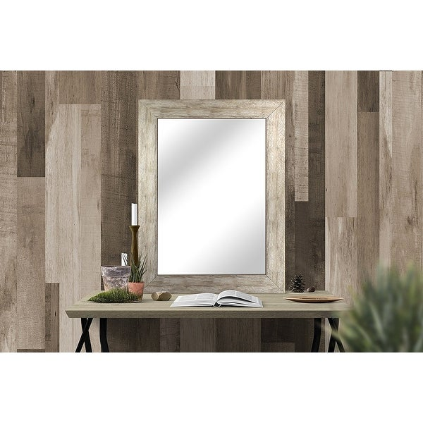 Hanging Framed Wall Mounted Mirror, Distressed Wood Finish Gray White, Made in USA - 20x30