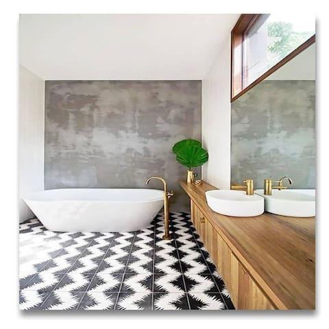 Handmade Bettana Black and White Tile, Pack of 12 (Morocco)
