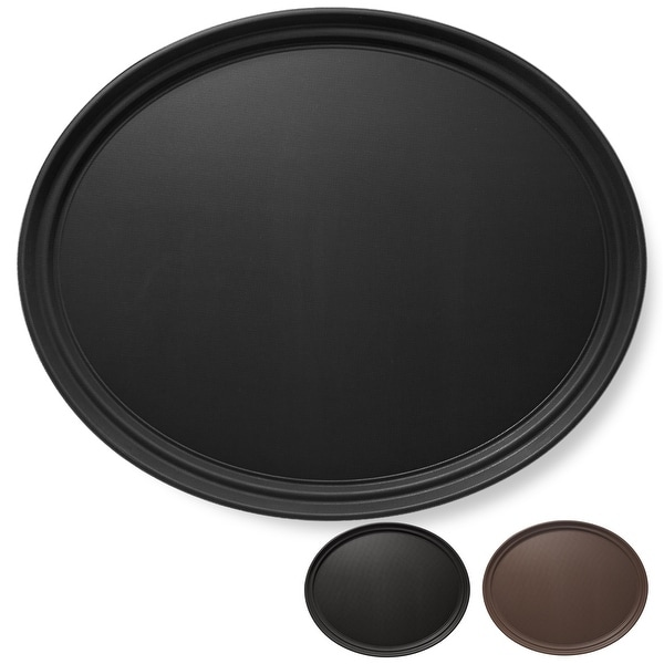 Oval Restaurant Serving Trays, Non-Skid NSF Food Service Tray