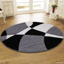 "Allstar Grey Round Modern Geometric Formal Abstract Area Rug (5' 5"" x 5' 5"")"