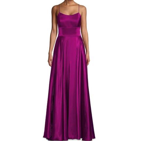 BETSY & ADAM Purple Spaghetti Strap Maxi Sheath Dress Size 6