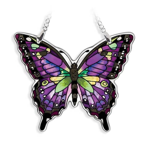 "Purple and Black Swallowtail Butterfly Handcrafted Glass Wall Art Decor 5.25"" x 4.75"""