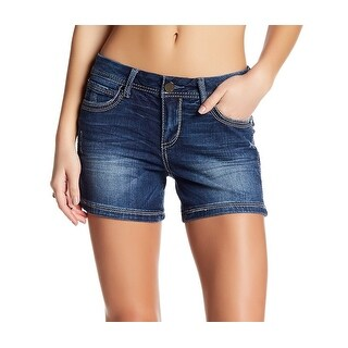 Seven 7 NEW Blue Women's Size 10 Denim Stretch Flap-Pocket Seamed Shorts
