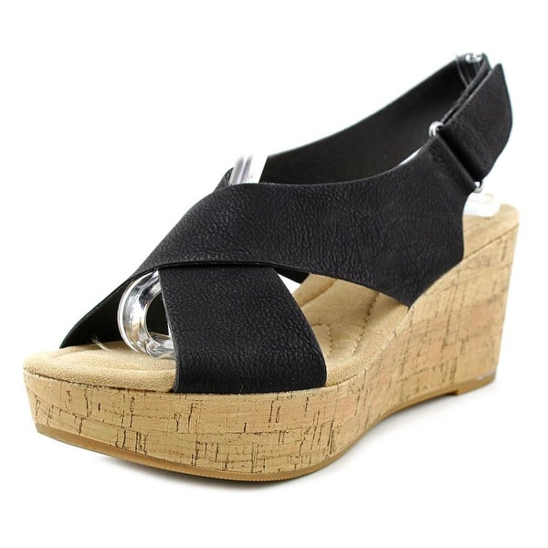 CL By Laundry Dream Girl Women Open Toe Synthetic Black Wedge Sandal