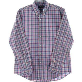 Ralph Lauren Mens Button-Down Plaid Button-Down Shirt - L