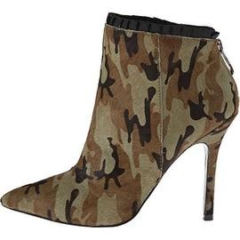 Betsey Johnson Womens Frilll Calf Hair Camouflage Booties - 6.5 medium (b,m)