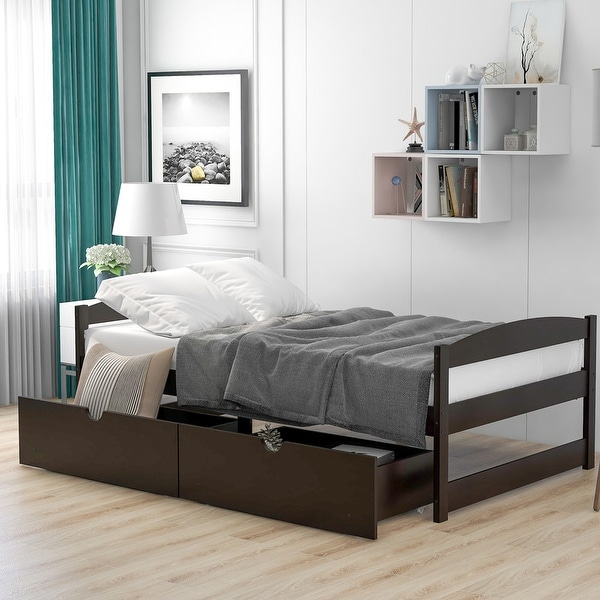 AOOLIVE Pine Wood Twin Size Platform Bed with Two Drawers, Espresso. Opens flyout.