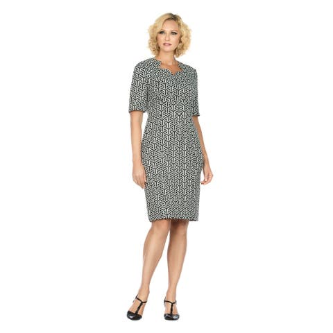 Giovanna Signature Short Sleeve Brocade Shift Dress in Multiple Prints