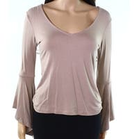 Polly & Esther Brown Womens Size Medium M Bell-Sleeve Knit Top