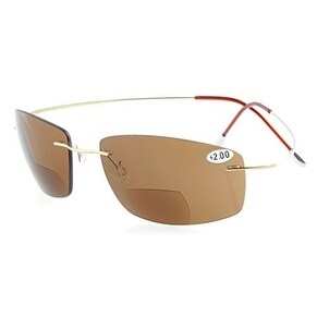Eyekepper Titanium Rimless UV400 Lenses Bifocal Sun Readers Bifocal Sunglasses+1.0