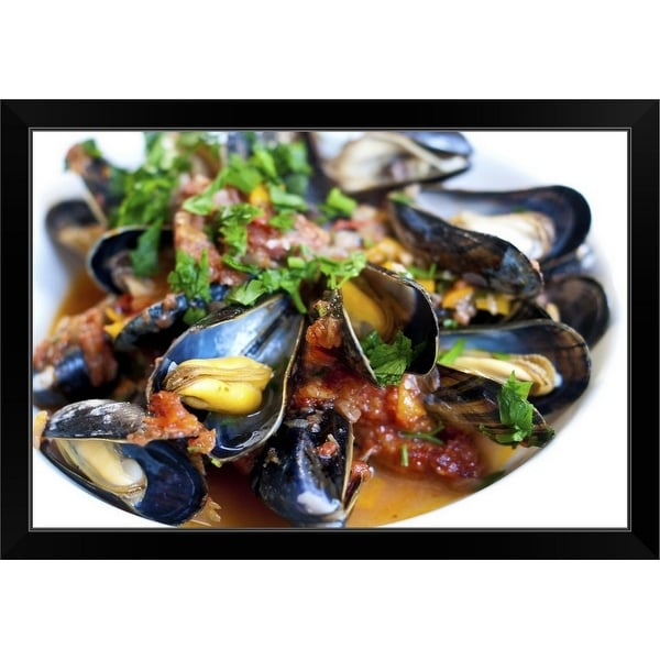 """Plate of Basque mussels"" Black Framed Print"