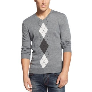 INC International Concepts Argyle Sweater Small Gray Merino Wool V-Neck - S