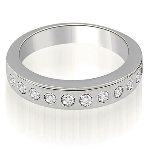 0.55 cttw. 14K White Gold Stylish Bezel Set Round Cut Diamond Wedding Ring