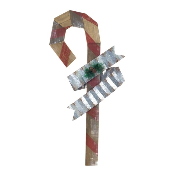 Pack of 2 Country Rustic Wooden and Metal Candy Cane Christmas Wall Décor 32""