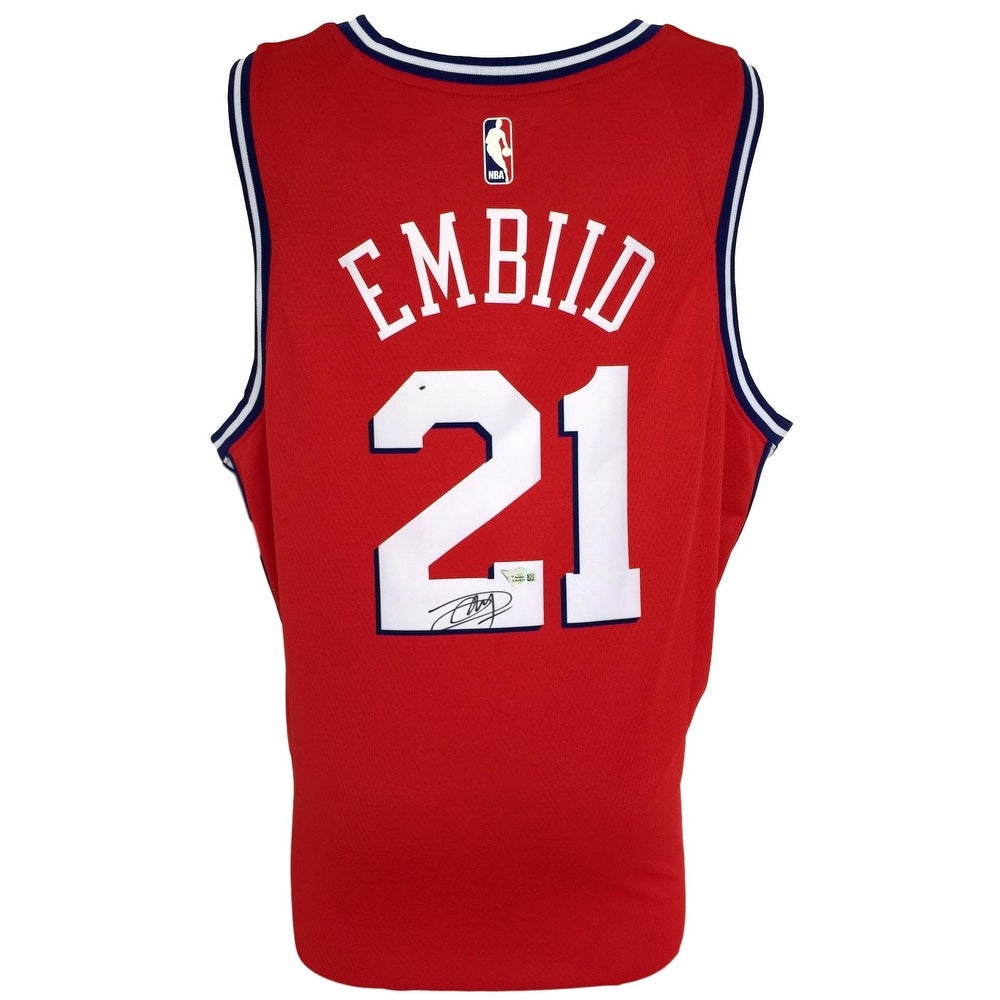 best website 1a8e2 93e93 Joel Embiid Signed 76ers Red Nike Swingman Jersey Fanatics A364835