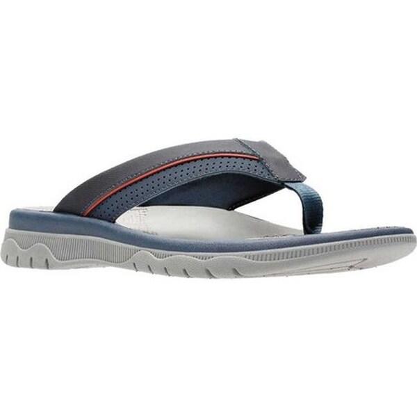 Shop Clarks Men's Balta Sun Flip Flop Navy Synthetic Free