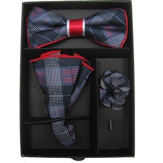 Men's Blue And Red Plaid Bow Tie with matching Hanky and Lapel Flower - One size
