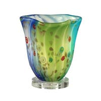 "9.5"" Lime Green, Aqua, and Blue Morgan Hand Blown Glass Accent Lamp"