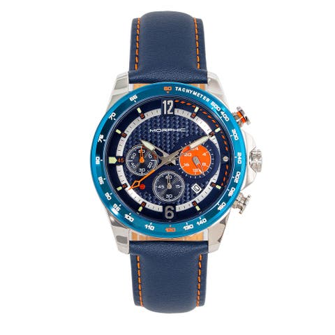 Morphic M88 Series Chronograph Leather-Band Watch w/Date - Navy/Blue