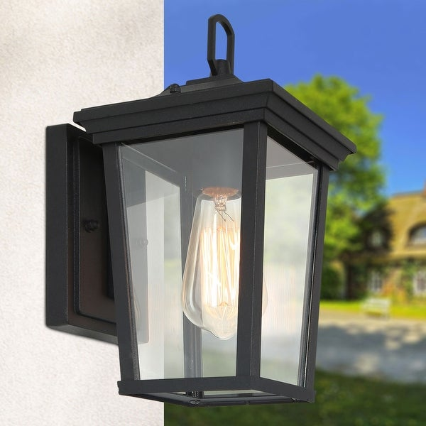 """Havenside Home Transitional 1-light Black Lantern Outdoor Wall Sconces Lamp - 6.5"""" X 8.25""""X 12"""". Opens flyout."""