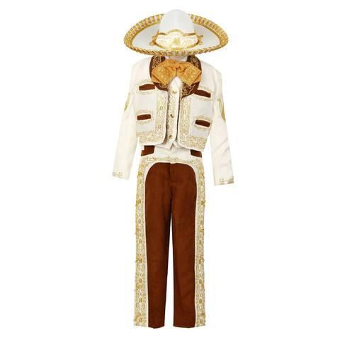 Rain Kids Boys Ivory Gold Horse Embroidery Elegant 6 Pc Charro Suit
