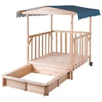 Gymax Beach Cabana Sandbox Retractable Playhouse With Canopy Kids Children Outdoor Toy