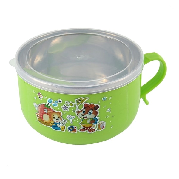 Unique Bargains Office School Heat Preservation Food Lunch Box Container Green w Spoon