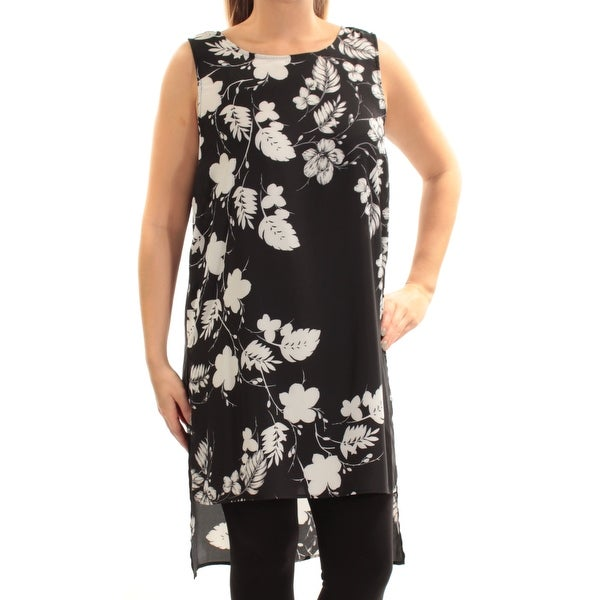 6cc488f40822e4 Shop VINCE CAMUTO Womens Black Slitted Floral Sleeveless Jewel Neck Top  Size  L - On Sale - Free Shipping On Orders Over  45 - Overstock - 23458407