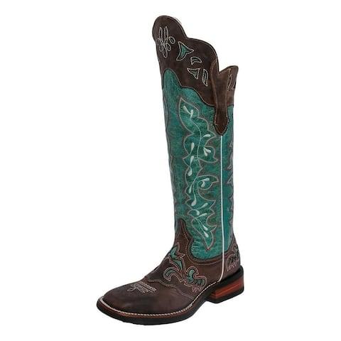 "Lacy Boots Womens Western Tall Buckaroo 17"" Calf Turquoise"