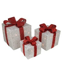Set of 3 Silver Tinsel Gift Boxes with Red Bows Lighted Christmas Outdoor Decorations