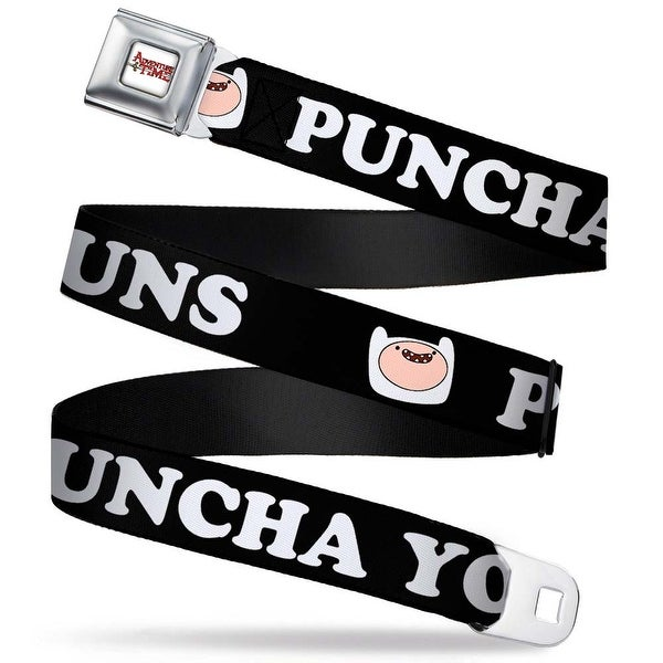 Adventure Time Logo White Full Color Finn Face Puncha Yo Buns! Black Seatbelt Belt